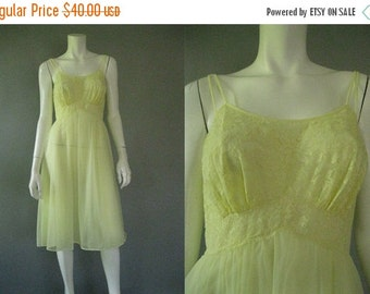 Vintage 1950s  Vanity Fair  Nightgown - 50s Yellow Nylon Chiffon Nightie S
