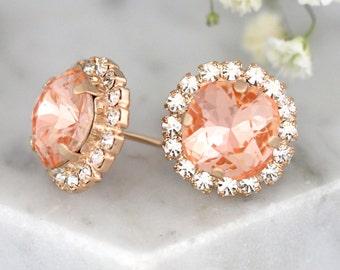 Bridal Peach Earrings, Bridal Light Peach Swarovski Earrings,Crystal Earrings, Bridal Light Peach Earrings, Bridesmaids Coral Peach Earrings