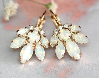 Bridal Opal Earrings, Crystal Drop Opal Earrings, Bridal Cluster Earrings, Drop Earrings, Swarovski Opal Earrings,Bridesmaids Earrings
