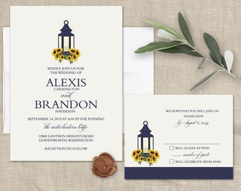 Sunflower Wedding Invitations Set Printable Rustic Wedding Navy Blue Lantern Wedding Invitation Country Wedding Rustic Digital Template Kit
