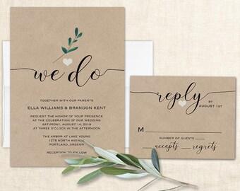 We Do Wedding Invitation Wedding Invite Modern Calligraphy Wedding Kraft Wedding Invitations, Greenery Wedding Printable Digital Template