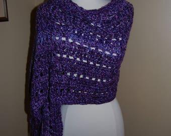 Thick Purple Crochet Wrap Shawl