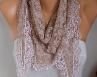 Beige Lace Scarf, Wedding Shawl Cowl Scarf Bridesmaid Gift Gift Ideas For Her Women's Fashion Accessories
