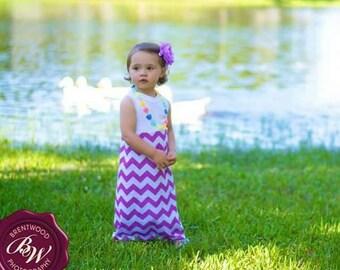 Chevron maxi dress infant toddler gray pink teal purple peach summer beach long toddler 12 months 18 months 2t