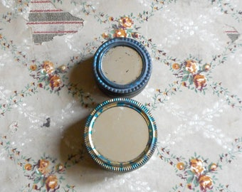 Two Small Round Tin Boxes w Mirror Vintage Collectible Makeup Rouge Compact