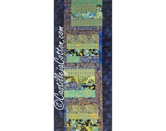 Stripped Pieced Quilted Table Runner, 5052-0, large table runner, navy and green table runner