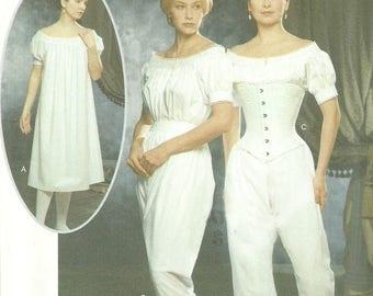 Simplicity 9769 Corset Chemise Drawers Historical Civil War Undergarments Pattern Uncut FF Multiple Sizes