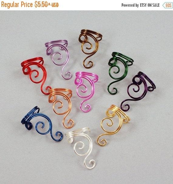 SALE - Ear Cuff - Double Spiral - Gold, Silver, Copper, Brass, Red, Magenta, Purple or Green