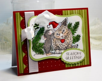"Handmade Christmas Card Greeting Card 5.5 x 4.25"" A2 Cards  3D Cards  Season's Greetings House Mouse Cat Holiday Cards Stationery Gift OOAK"