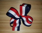 STORE CLOSING, Red/White/Navy Stripe, Memorial Day, July 4th, boutique hair bow