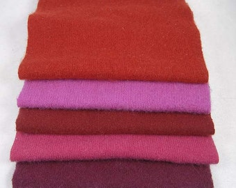 """FELTED CASHMERE PIECES """"Lipstick Reds"""" Reclaimed Sweaters Upcycled Woolen Scraps 1865"""