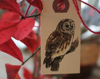 Owl Gift Tags - Set of Six Hand-Painted Tags