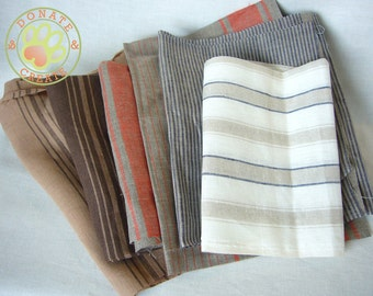 Pure linen fabric assorted remnants sale! European linen flax out cuts scraps for DIY projects, French striped linen mix