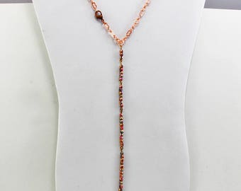 Handmade Jewelry Necklace  Choker Length Adjustable Bright Copper Chain With 4 Segment Beaded Czech Hand Wired 4mm Etched Beads Oscarcrow