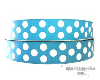 10 Yds WHOLESALE 1.5 Inch Turquoise Jumbo Polka Dot grosgrain ribbon LOW SHIPPING Cost
