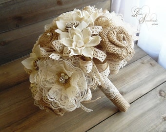Ready to Ship ~~~ Rustic Shabby Chic Lace Bridal Bouquet Large, Sola Flowers, Lace Flowers, Burlap Roses, Lace, Rhinestones & Pearls