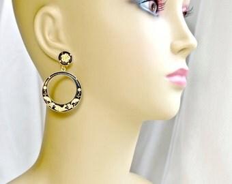 Vintage Hoop Gold Black Bird Earrings Enamel Spanish Damascene Jewelry GORGEOUS Great Condition