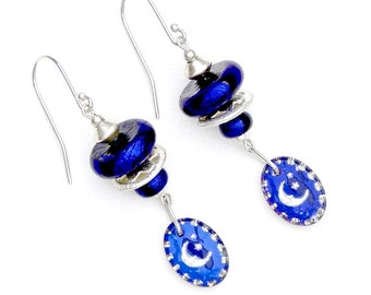 Moon Star Earrings Cobalt Blue Dichroic Sterling Swarovski Jewelry Crystallized™ Swarovski Elements