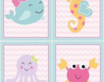 "Set of 4  Unframed ""Sea Sweeties Whale/Girl Ocean life/Octopus/Seahorse/Crab"" 8x10 inch Nursery Wall Art Prints Baby Kids Decor"