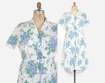 Vintage 50s DAY DRESS / Early 1950s Floral Cotton Plus Size Shirt Dress L - XL