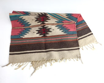 Southwest Rug, Hand Woven Tapestry, Area Rug or Wall Hanging, SW, Cowboy Western Decor, Horse Rug