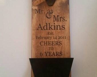 Gift for Him Custom Bottle Opener, Unique Personalized Wedding Anniversary Gift, Wall Mount Bottle Opener,