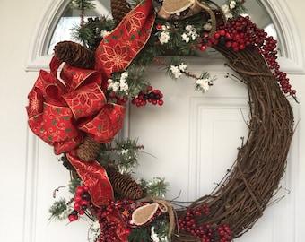 Christmas wreath, winter wreath, outdoor door wreath, outdoor Christmas wreath, Christmas decorations, front door wreath, rustic wreath