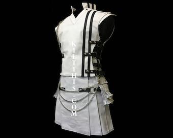 Interchangeable White Leather Utility Kilt & Vest Suit with Priest Collar 2 sets of Kilt Chains Custom Fit Adjustable