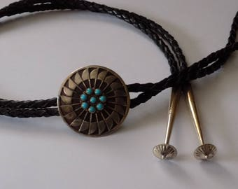 "Vintage Navajo or Zuni turquoise and sterling silver bolo tie, signed ""VK STERLING"", southwestern native tribal jewelry"