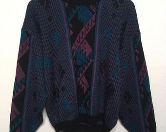 Vintage abstract sweater 80s 90s, geometric sweater, J. Todd vtg sweater, turquoise pink black purple blue, vaporwave new wave, men M medium