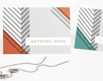 Personalized Stationery Set, Personalized Note Cards for Him // GEOMETRIC