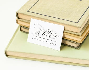 Elegant Personalized Bookplates, Bookplate Label, Ex Libris // CLASSIC FLAIR