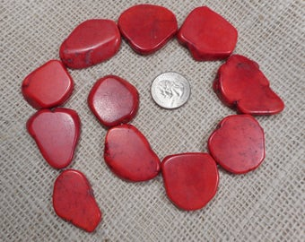 Large Red Magnesite Slab Beads, 11 Gemstone Bead Pendents  M17