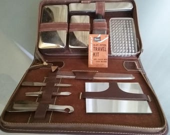 Sears Travel Kit for Men, Vintage Travel Accessory, Grooming, Personal Hygiene Kit, Manicure, Manscaping, Travel Container, Storage