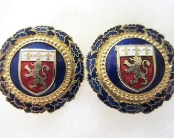 "Coro Clip on Earrings, French Coat of Arms, Enamel Lion & Fleur de Lis, 1 1/4"", Vintage 1950s"