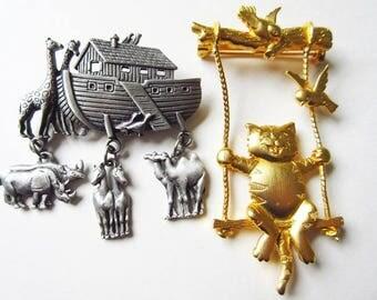 Pewter Noah's Ark & Gold Tone Cat on Swing Brooch, Vintage JJ/Jonette Pin