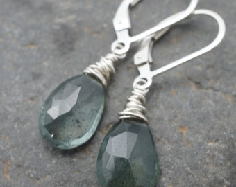 Moss Aquamarine Faceted Pear and Sterling Silver Earrings