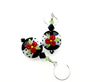 Glass Bead Earrings, Red Flower Lampwork Earrings, Black White Polka Dot Earrings, Lampwork Glass Bead Jewelry, Dangle Drop Beaded Earrings