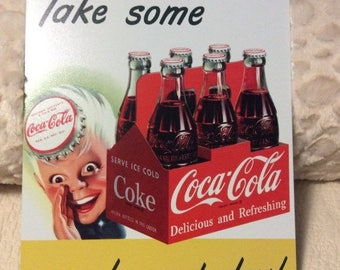 Vintage Coke Sign Tin Metal Coca Cola Pop Soda Sprite Boy Americana Advertising