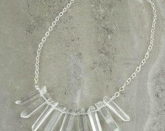 Quartz Point Necklace with Sterling Silver Chain (535)