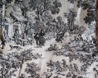 Shabby Chic Pr.  French Black & White Toile Drapes Rue23paris Collectibles  We Ship Internationally