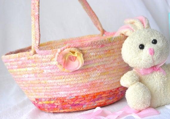 Girl Easter Basket, Handmade Pinky Peach Batik Basket, Gorgeous Fiber Pottery Basket, Easter Bucket, Easter Decoration