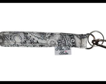 Silver Paisley Key Wristlet , Key Fob, Swivel Hook, Key Chain