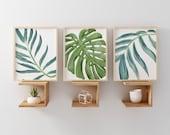 Beach Art Prints, Watercolor Beach Nursery Art, Tropical Palm Leaves Wall Art, Set of 3 Palm Wall Art, Palm Beach Cottage Wall Decor Art