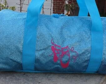 """Personalized  Dance Bag  Ballet Bag  Duffle Bag Turquoise Dance Bag  Sparkly Ballet Bag 17"""" Duffle"""