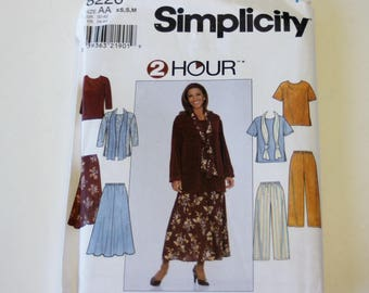 Simplicity 8226: 2 Hour Misses' Top, Skirt, Pants, and Scarf Sizes XS,S,M UNCUT