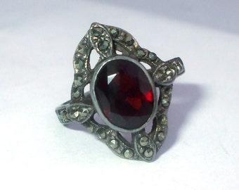 Sterling Silver Garnet Marcasite Ring Antique Victorian Ornate Oval Design Faceted Birthstone Size 6 3/4  to 7 Vintage