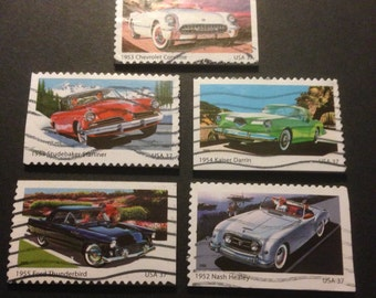 Five (5) Recycled Postage Magnets: Classic Cars, chevrolette corvette, studebaker starliner, darrin, Nash Healey, Ford thunderbird