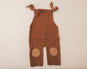 Newborn Photography Overall Set- Dark Brown, Light Brown Patches