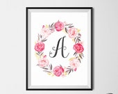 Floral Monogram Printable Wall Art, Nursery Room Wall Art, Monogram, Floral Wreath, Custom Monogram Wall Art, Any Letter, Print Your Own